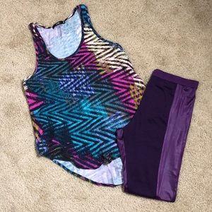 Tops - Purple Zigzag Top w/ Purple Leggings Outfit